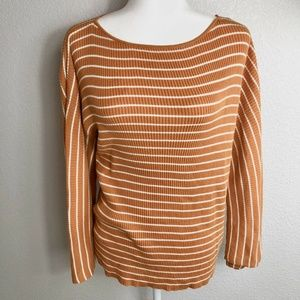 Ann Taylor Orange And White Striped Bell Sleeve XL